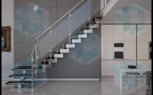 лестница со стеклянным ограждением прямая (тип 11), на заказ