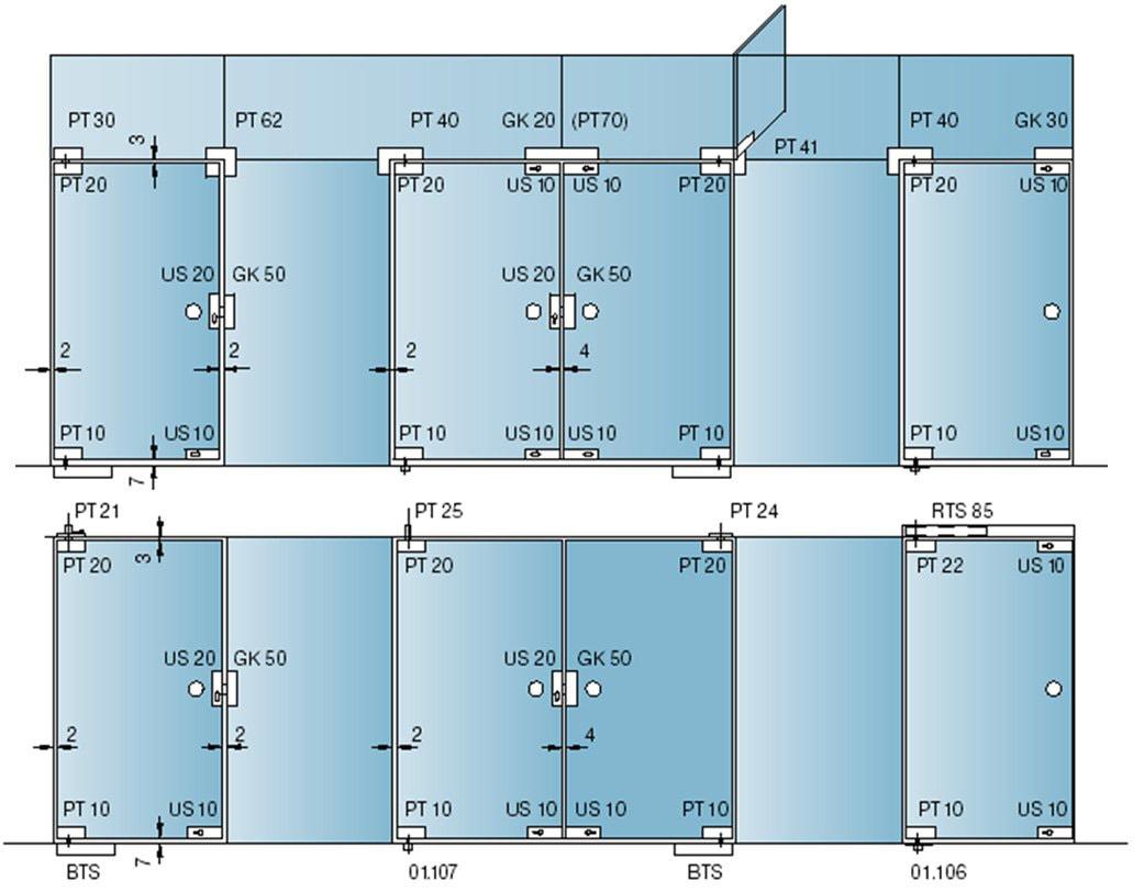 стеклянные перегородки схема